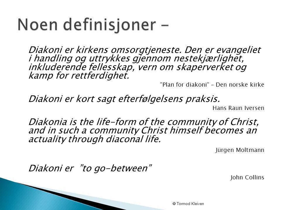 Diakoni er kirkens omsorgtjeneste. Den er evangeliet i handling og uttrykkes gjennom nestekjærlighet, inkluderende fellesskap, vern om skaperverket og