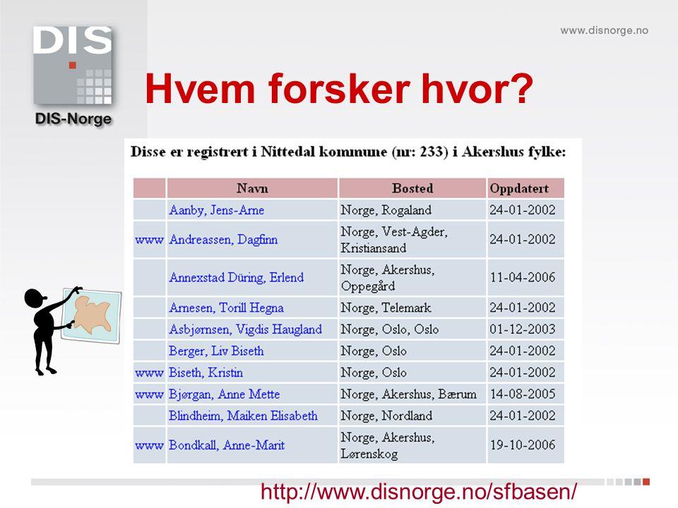 Hvem forsker hvor http://www.disnorge.no/sfbasen/