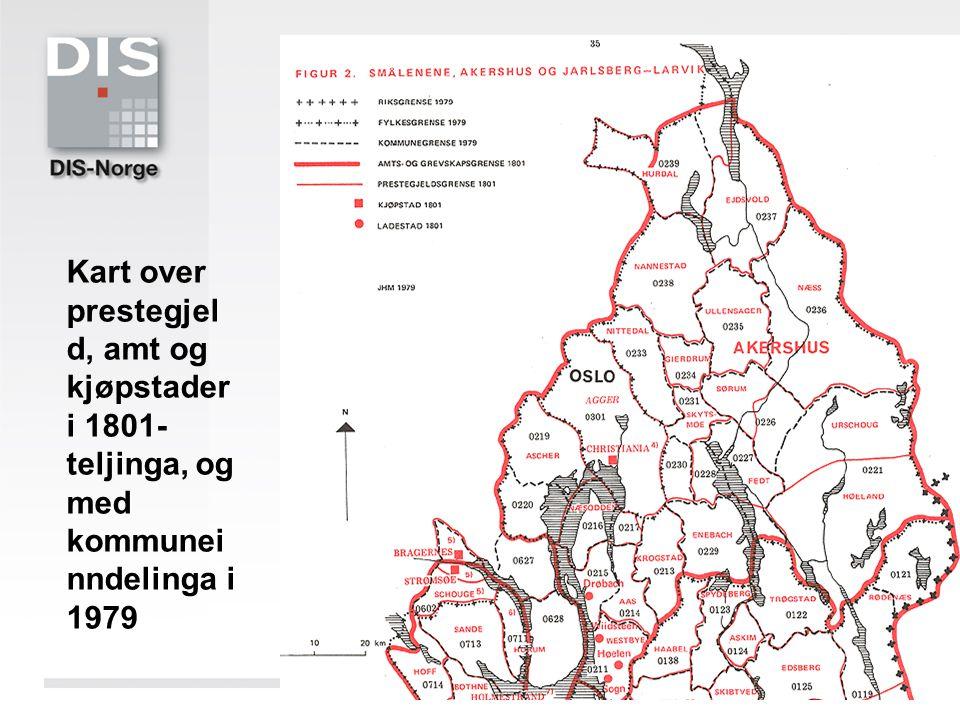 Kart over prestegjel d, amt og kjøpstader i 1801- teljinga, og med kommunei nndelinga i 1979