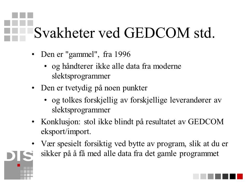 Svakheter ved GEDCOM std.