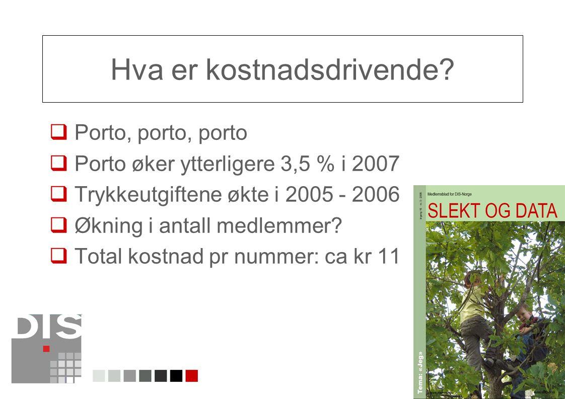 12 Hva er kostnadsdrivende?  Porto, porto, porto  Porto øker ytterligere 3,5 % i 2007  Trykkeutgiftene økte i 2005 - 2006  Økning i antall medlemm