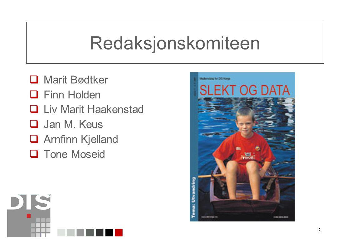 3 Redaksjonskomiteen  Marit Bødtker  Finn Holden  Liv Marit Haakenstad  Jan M. Keus  Arnfinn Kjelland  Tone Moseid