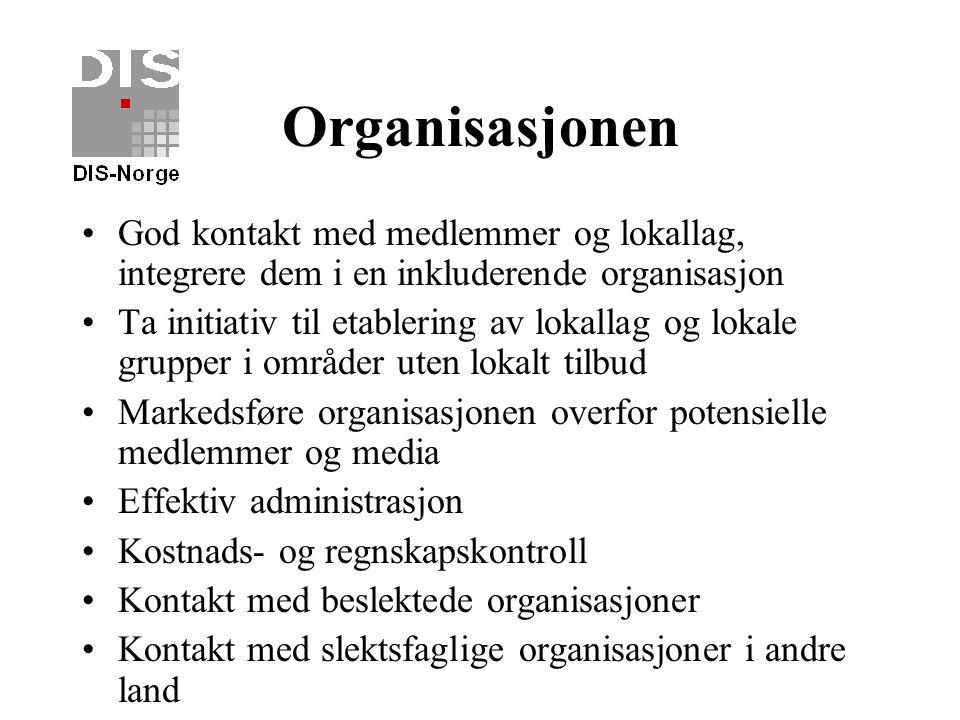 Internett Utvikle nettsted for DIS-Norge med høyt kvalitativt innhold Høy grad av brukervennlighet God design Internett-serveren utnyttes aktivt til w
