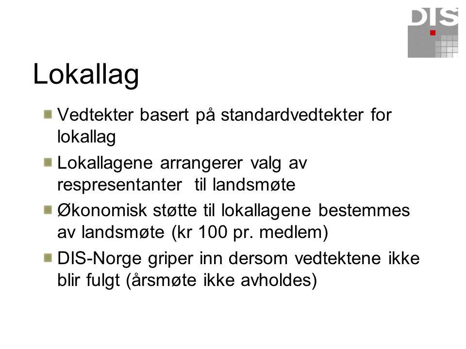 Medlemsordning Alle er medlemmer av kun DIS-Norge Ingen er medlemmer i lokallaget Alle er tilknyttet ett lokallag – valgfritt Ingen medlemmer kan tilknyttes mer enn ett lokallag Alle medlemmer kan kontakte andre lokallag for å abonnere på lokallagstidskrifter (direkte oppgjør)