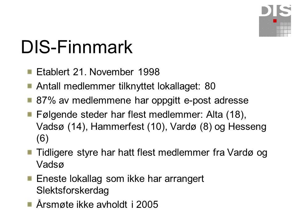 DIS-Finnmark Etablert 21. November 1998 Antall medlemmer tilknyttet lokallaget: 80 87% av medlemmene har oppgitt e-post adresse Følgende steder har fl