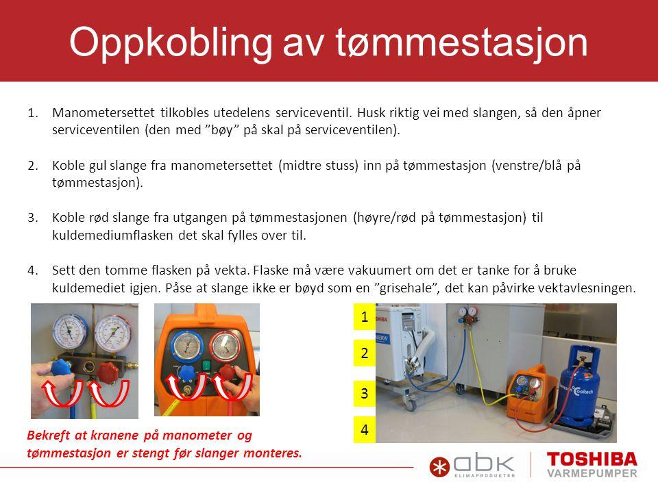 1.Sjekk om tømmestasjon (rødt manometer) er tømt fra tidl.