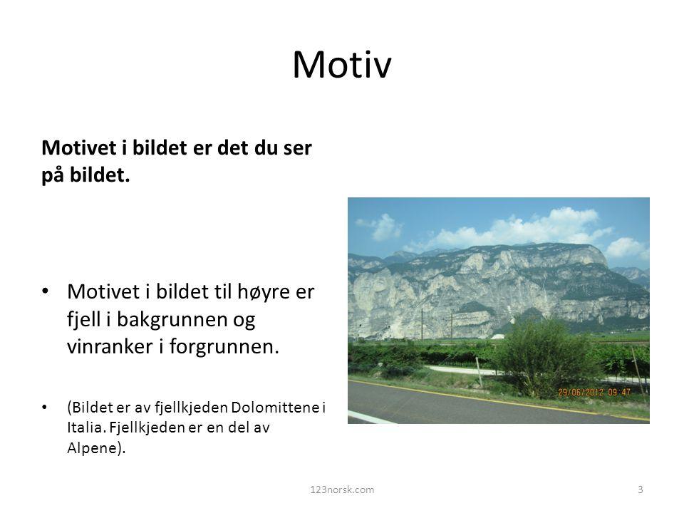 Motiv Motivet i bildet er det du ser på bildet. Motivet i bildet til høyre er fjell i bakgrunnen og vinranker i forgrunnen. (Bildet er av fjellkjeden
