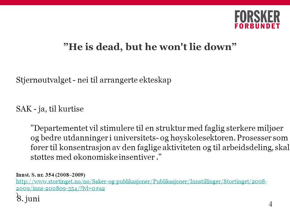 """8. juni 4 """"He is dead, but he won't lie down"""" Stjernøutvalget - nei til arrangerte ekteskap SAK - ja, til kurtise """"Departementet vil stimulere til en"""