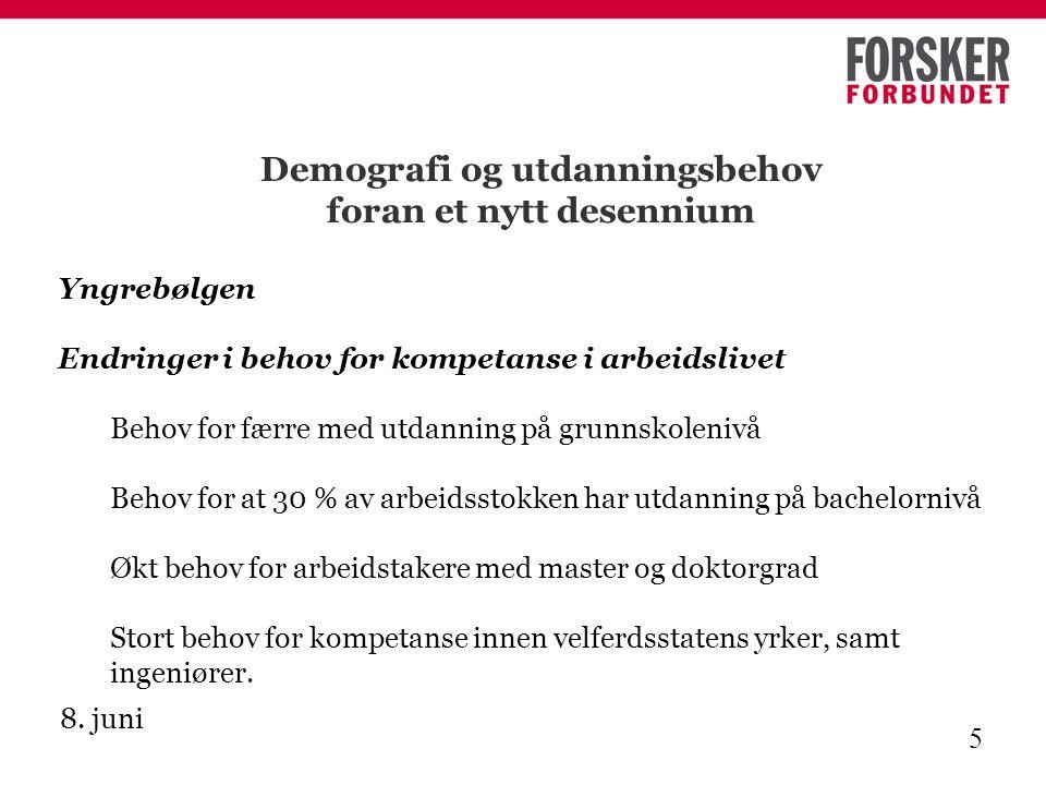 8. juni 5 Demografi og utdanningsbehov foran et nytt desennium Yngrebølgen Endringer i behov for kompetanse i arbeidslivet Behov for færre med utdanni