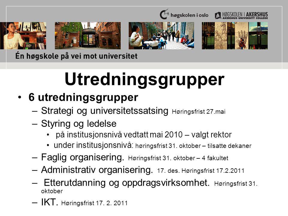 Utredningsgrupper 6 utredningsgrupper –Strategi og universitetssatsing Høringsfrist 27.mai –Styring og ledelse på institusjonsnivå vedtatt mai 2010 –
