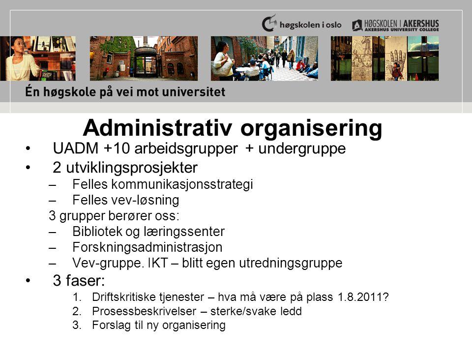 Administrativ organisering UADM +10 arbeidsgrupper + undergruppe 2 utviklingsprosjekter –Felles kommunikasjonsstrategi –Felles vev-løsning 3 grupper b