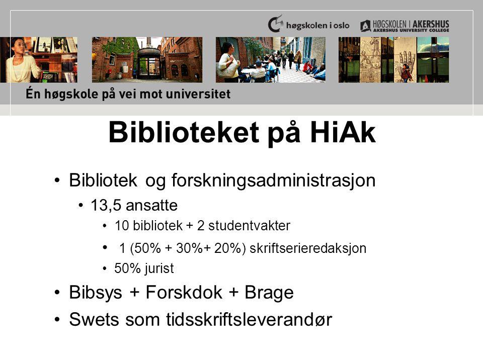 Biblioteket på HiAk Bibliotek og forskningsadministrasjon 13,5 ansatte 10 bibliotek + 2 studentvakter 1 (50% + 30%+ 20%) skriftserieredaksjon 50% jurist Bibsys + Forskdok + Brage Swets som tidsskriftsleverandør