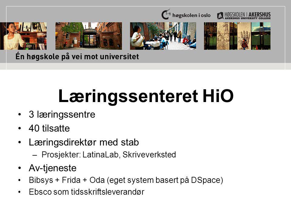 Læringssenteret HiO 3 læringssentre 40 tilsatte Læringsdirektør med stab –Prosjekter: LatinaLab, Skriveverksted Av-tjeneste Bibsys + Frida + Oda (eget system basert på DSpace) Ebsco som tidsskriftsleverandør