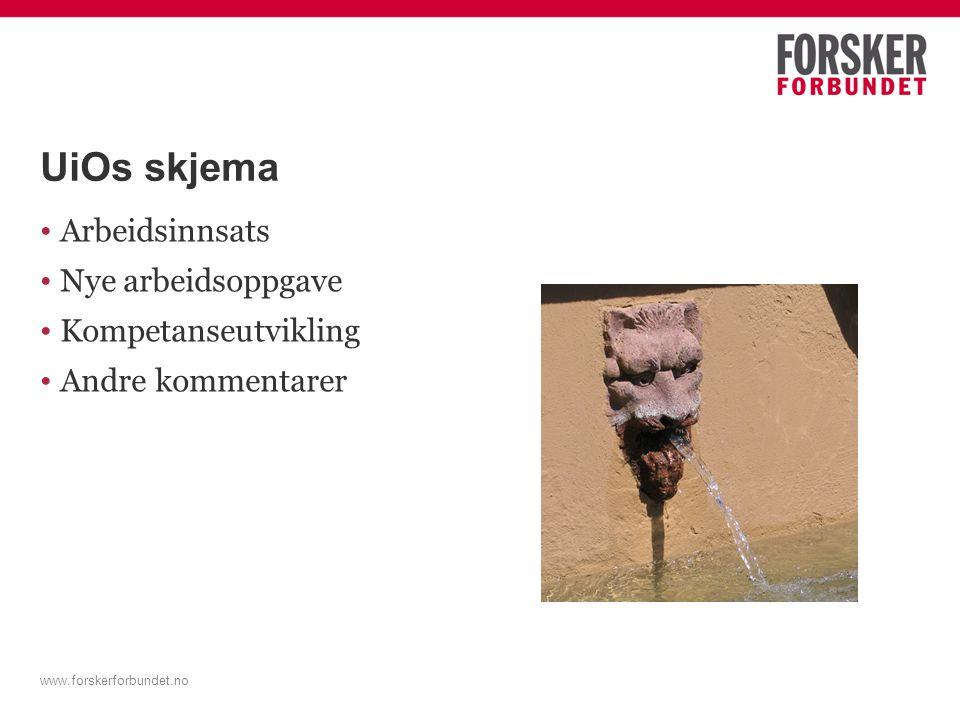 UiOs skjema Arbeidsinnsats Nye arbeidsoppgave Kompetanseutvikling Andre kommentarer www.forskerforbundet.no