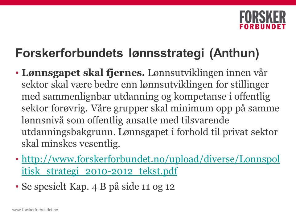 www.forskerforbundet.no Hvem gjøre hva med lønnsutviklingen vår .
