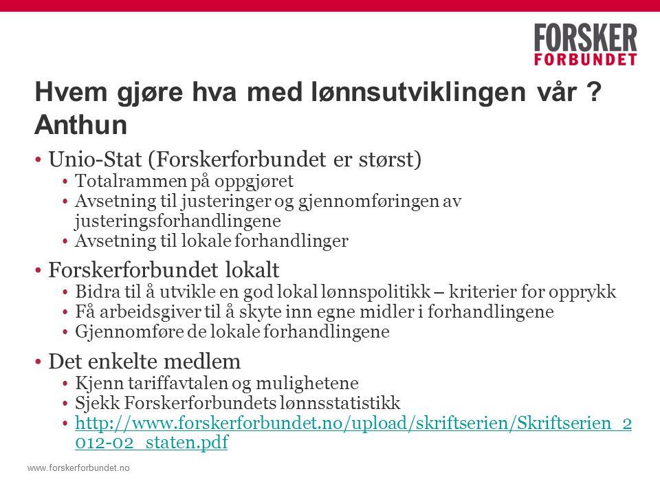 www.forskerforbundet.no Jobbtilbudet - Anthun Beskjedenhet er en dyd, men ikke når du forhandler om din egen lønn Hvordan takler vi.