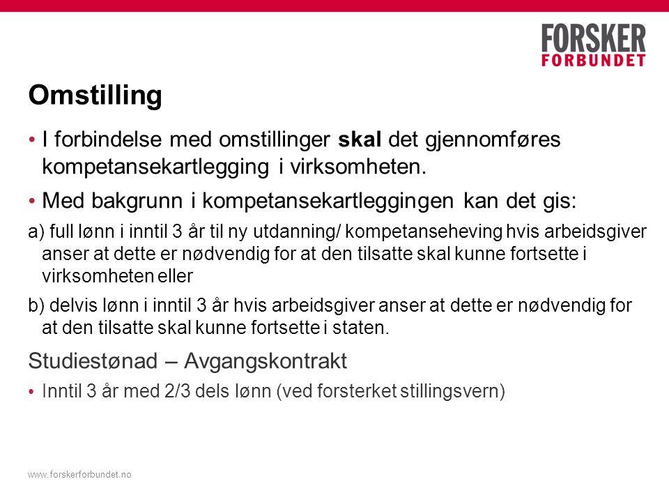 www.forskerforbundet.no Oppsummering Kompetanseutvikling for den enkelte er et felles ansvar for leder og medarbeider på den lokale arbeidsplass.