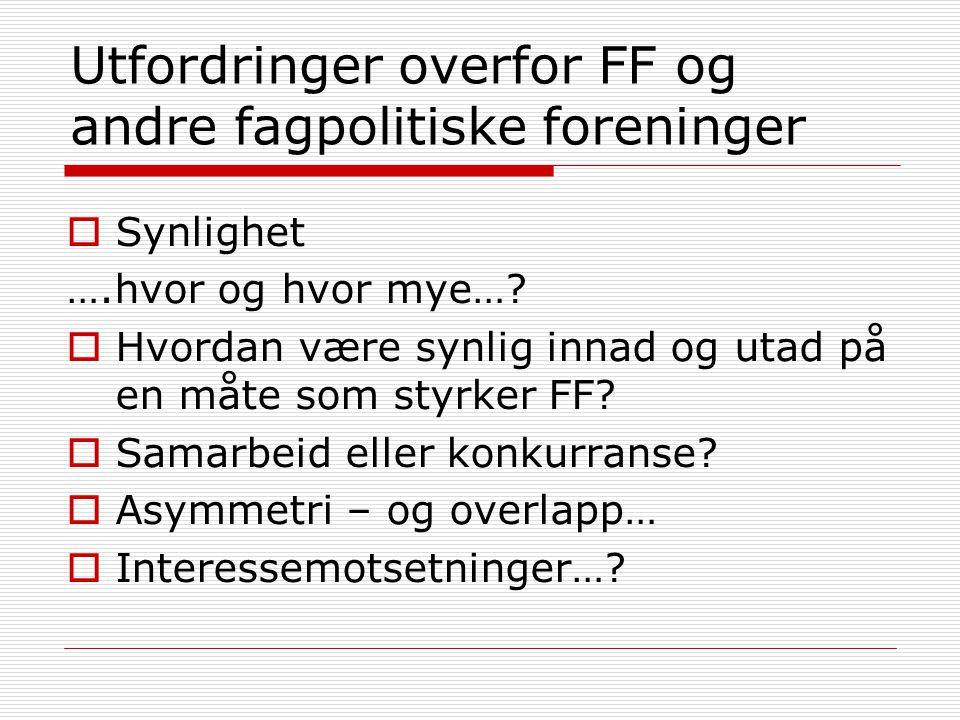 Utfordringer overfor FF og andre fagpolitiske foreninger  Synlighet ….hvor og hvor mye…?  Hvordan være synlig innad og utad på en måte som styrker F