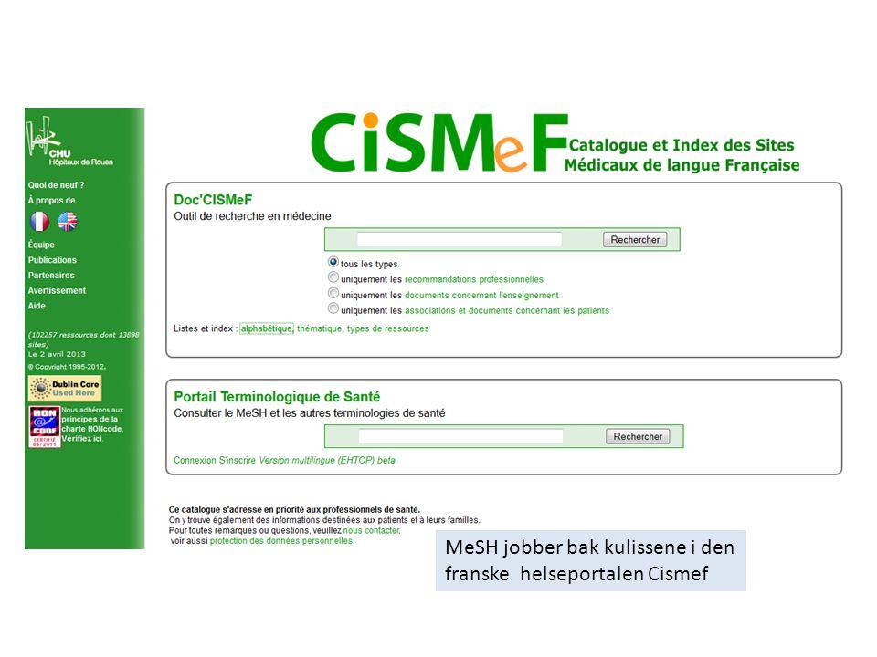 MeSH jobber bak kulissene i den franske helseportalen Cismef