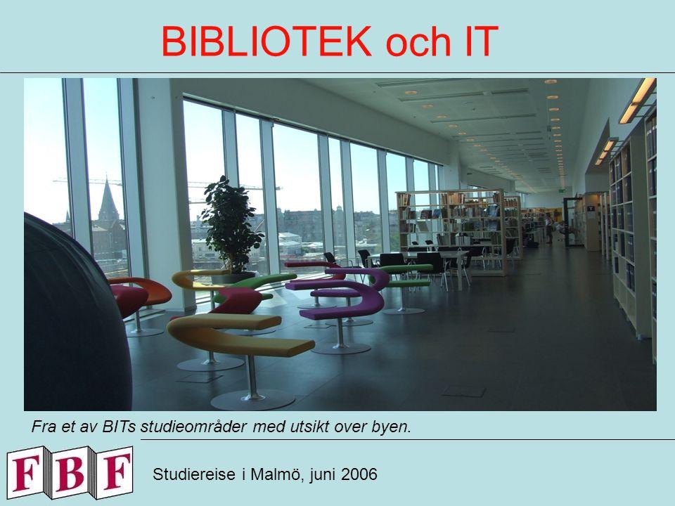 BIBLIOTEK och IT Studiereise i Malmö, juni 2006 Fra et av BITs studieområder med utsikt over byen.