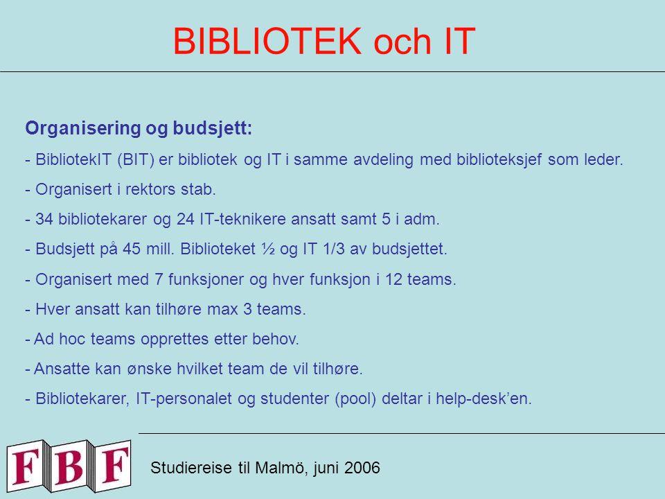 BIBLIOTEK och IT Studiereise til Malmö, juni 2006 Organisering og budsjett: - BibliotekIT (BIT) er bibliotek og IT i samme avdeling med biblioteksjef som leder.