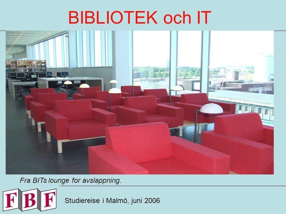 BIBLIOTEK och IT Studiereise i Malmö, juni 2006 Fra et av BITs serviceområder med utsikt over byen.