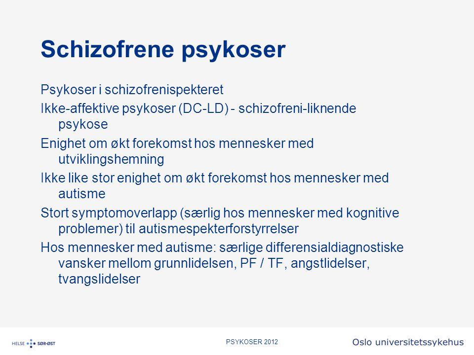 PSYKOSER 2012 Schizofrene psykoser Psykoser i schizofrenispekteret Ikke-affektive psykoser (DC-LD) - schizofreni-liknende psykose Enighet om økt forek