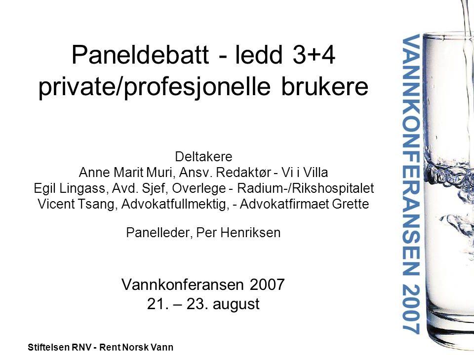 Stiftelsen RNV - Rent Norsk Vann Paneldebatt - ledd 3+4 private/profesjonelle brukere Deltakere Anne Marit Muri, Ansv.