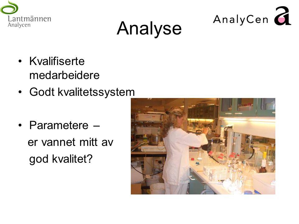 Analyse Kvalifiserte medarbeidere Godt kvalitetssystem Parametere – er vannet mitt av god kvalitet