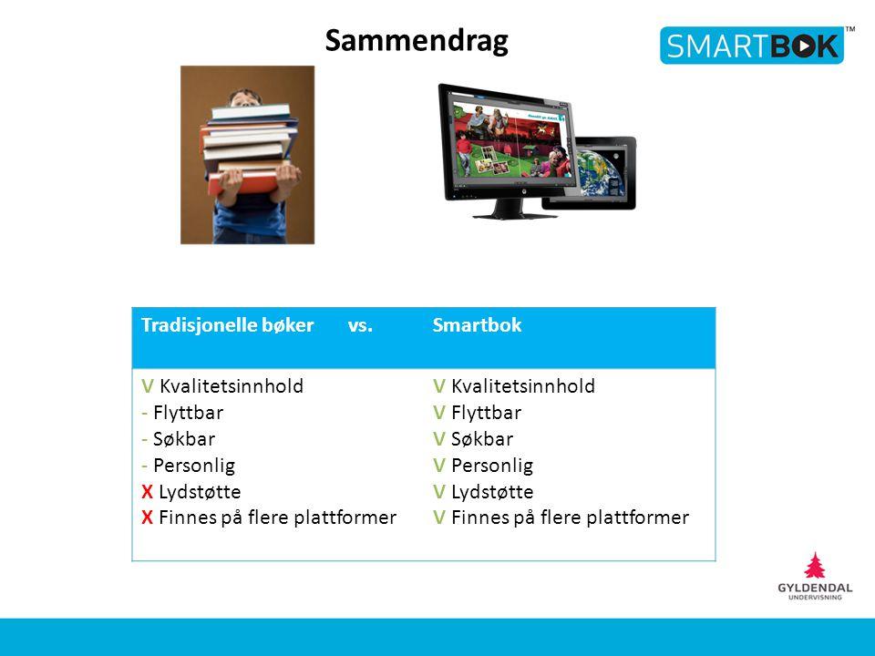 Tradisjonelle bøker vs.Smartbok V Kvalitetsinnhold - Flyttbar - Søkbar - Personlig X Lydstøtte X Finnes på flere plattformer V Kvalitetsinnhold V Flyt