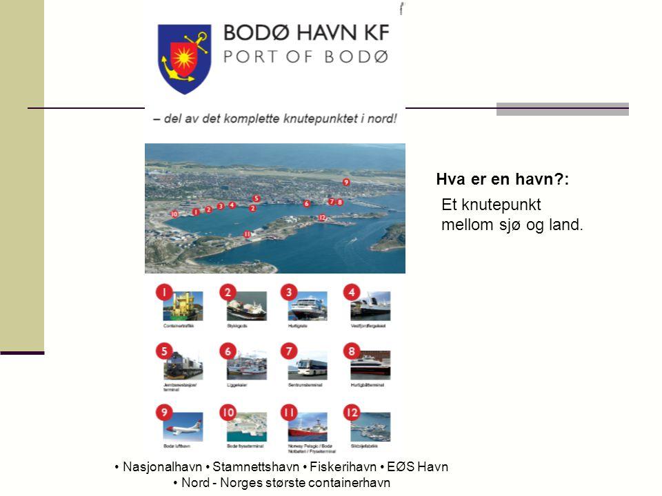 Nasjonalhavn Stamnettshavn Fiskerihavn EØS Havn Nord - Norges største containerhavn Hva er en havn?: Et knutepunkt mellom sjø og land.