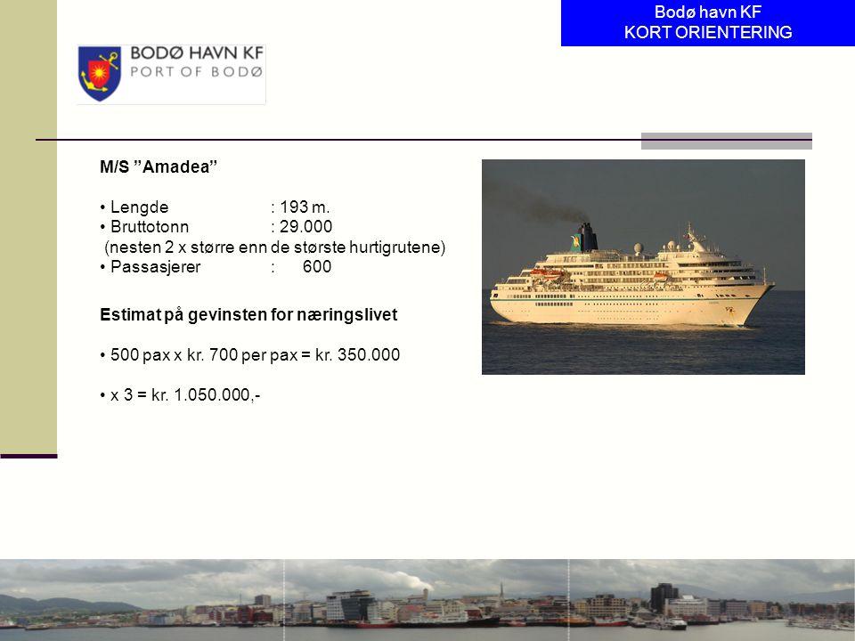 """M/S """"Amadea"""" Lengde: 193 m. Bruttotonn: 29.000 (nesten 2 x større enn de største hurtigrutene) Passasjerer: 600 Estimat på gevinsten for næringslivet"""