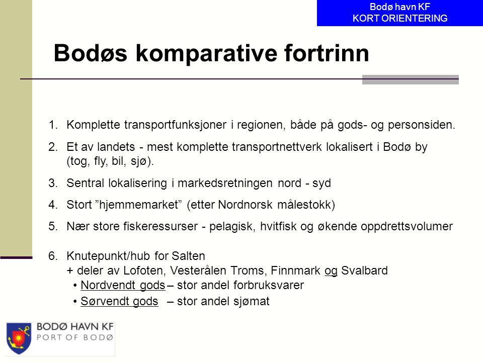 1.Komplette transportfunksjoner i regionen, både på gods- og personsiden. 2.Et av landets - mest komplette transportnettverk lokalisert i Bodø by (tog