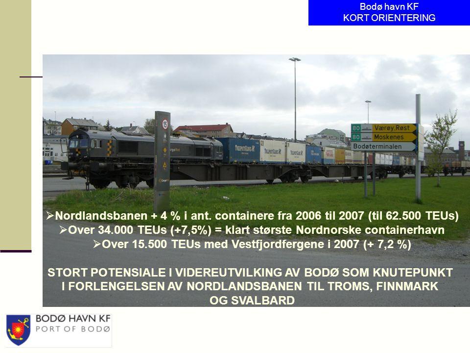  Nordlandsbanen + 4 % i ant. containere fra 2006 til 2007 (til 62.500 TEUs)  Over 34.000 TEUs (+7,5%) = klart største Nordnorske containerhavn  Ove