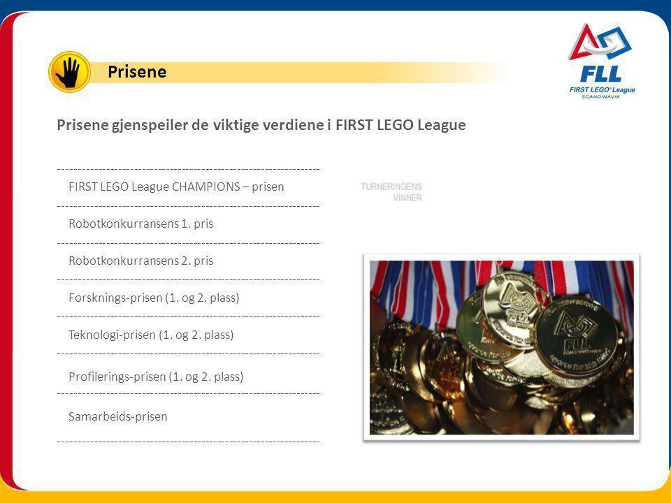 Prisene gjenspeiler de viktige verdiene i FIRST LEGO League ------------------------------------------------------------------ FIRST LEGO League CHAMPIONS – prisen ------------------------------------------------------------------ Robotkonkurransens 1.