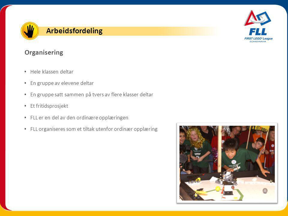 Hele klassen deltar En gruppe av elevene deltar En gruppe satt sammen på tvers av flere klasser deltar Et fritidsprosjekt FLL er en del av den ordinære opplæringen FLL organiseres som et tiltak utenfor ordinær opplæring Organisering Arbeidsfordeling