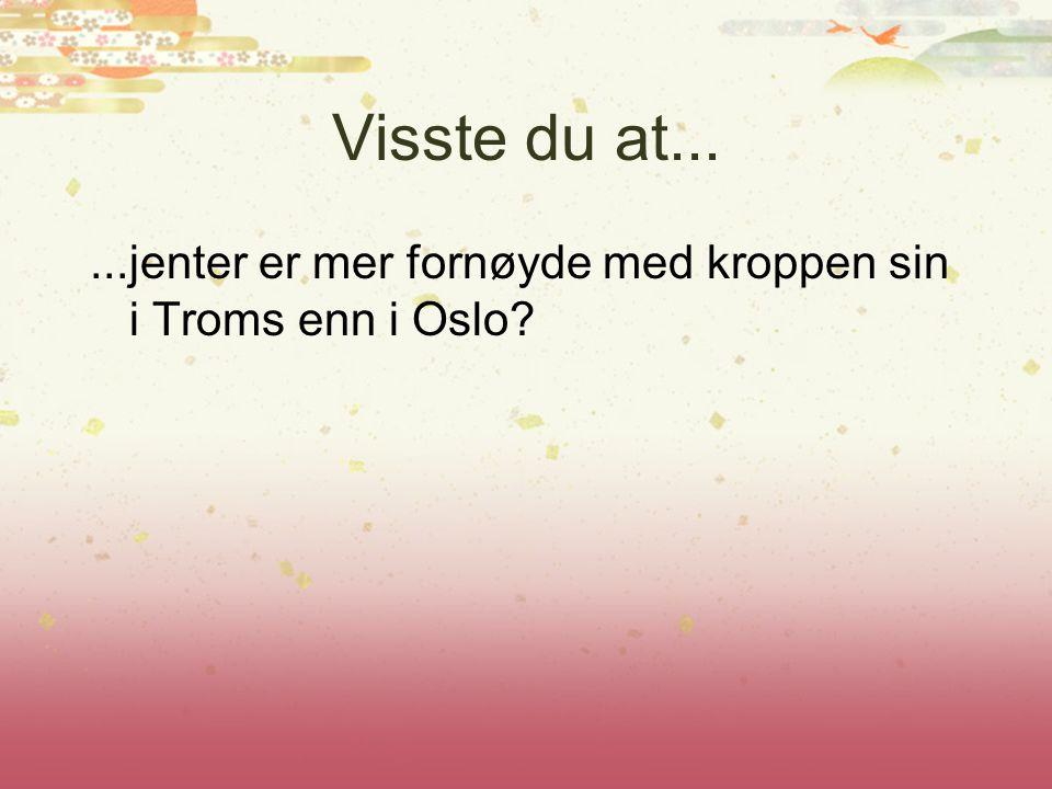 Visste du at......jenter er mer fornøyde med kroppen sin i Troms enn i Oslo?