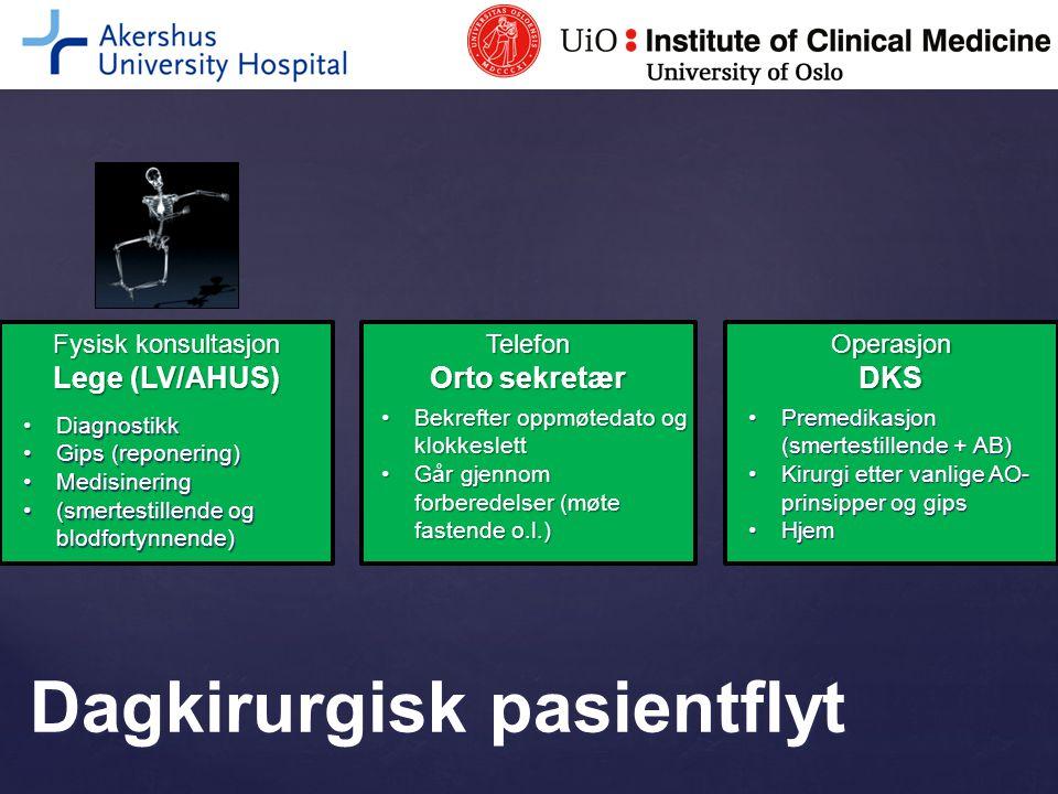 Fysisk konsultasjon Lege (LV/AHUS) DiagnostikkDiagnostikk Gips (reponering)Gips (reponering) MedisineringMedisinering (smertestillende og blodfortynne