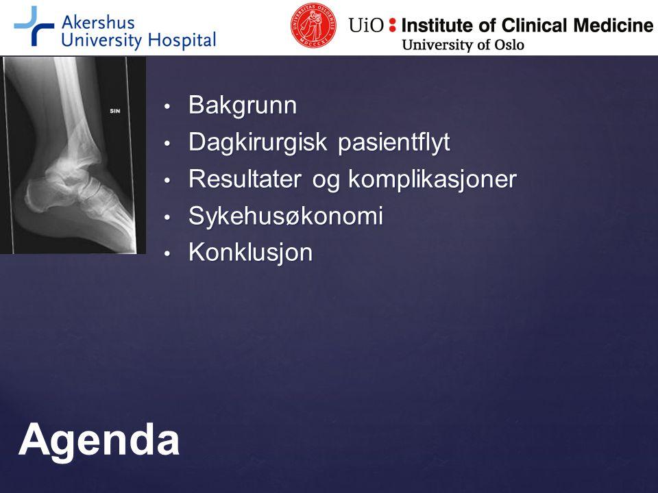 Bakgrunn Bakgrunn Dagkirurgisk pasientflyt Dagkirurgisk pasientflyt Resultater og komplikasjoner Resultater og komplikasjoner Sykehusøkonomi Sykehusøk