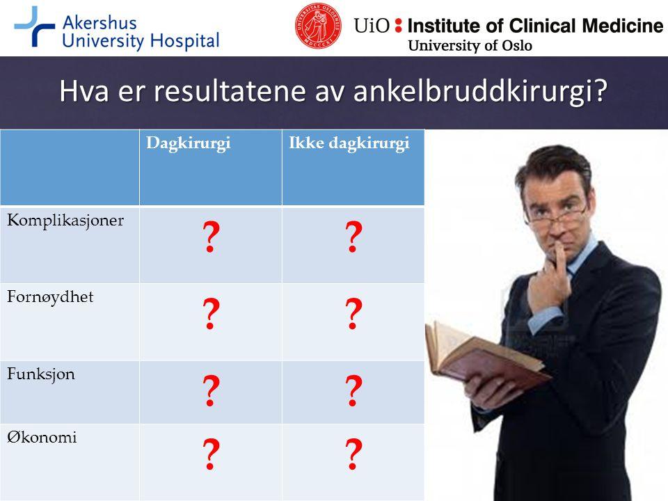 Hva er resultatene av ankelbruddkirurgi? DagkirurgiIkke dagkirurgi Komplikasjoner ?? Fornøydhet ?? Funksjon ?? Økonomi ??