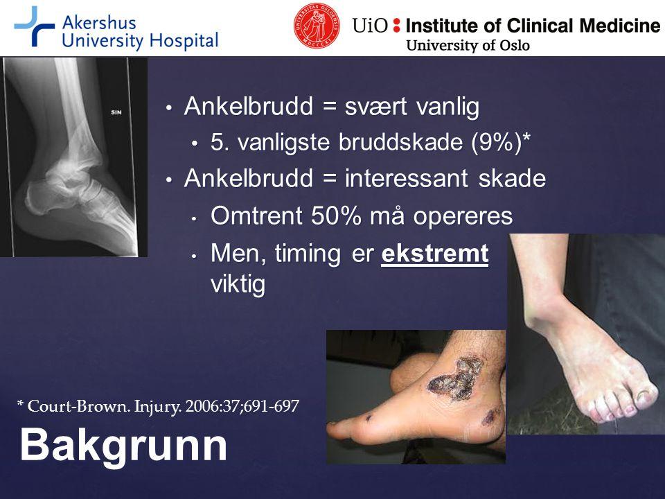 2009-2011: 18-40 mnd oppfølging Mindre alvorligFrekvens i % (dagkirurgi) Fjerne metall pga plager11 (11) Sårinfeksjon (ikke op)4 (2) Artroskopi pga plager2 (1) TOTALT17 (14)