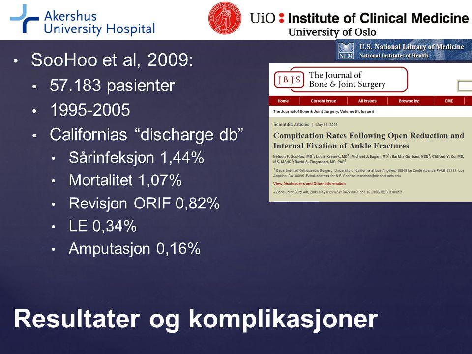 "SooHoo et al, 2009: SooHoo et al, 2009: 57.183 pasienter 57.183 pasienter 1995-2005 1995-2005 Californias ""discharge db"" Californias ""discharge db"" Så"