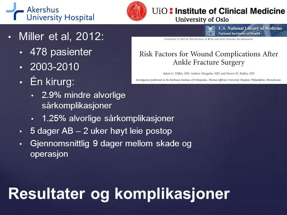 Miller et al, 2012: Miller et al, 2012: 478 pasienter 478 pasienter 2003-2010 2003-2010 Én kirurg: Én kirurg: 2.9% mindre alvorlige sårkomplikasjoner