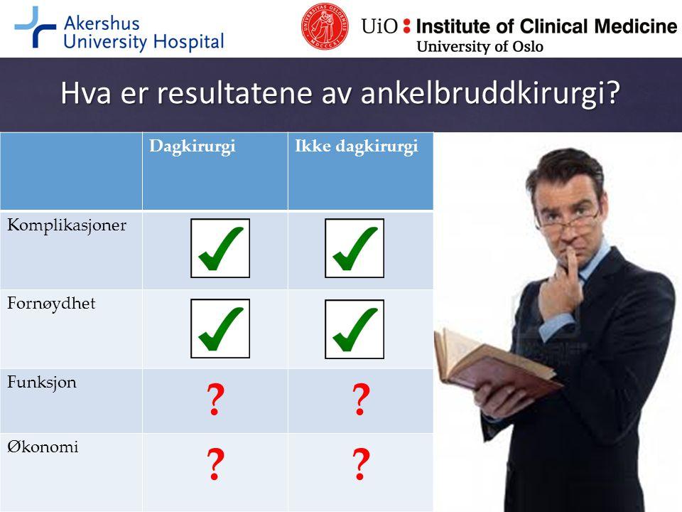 Hva er resultatene av ankelbruddkirurgi? DagkirurgiIkke dagkirurgi Komplikasjoner Fornøydhet Funksjon ?? Økonomi ??
