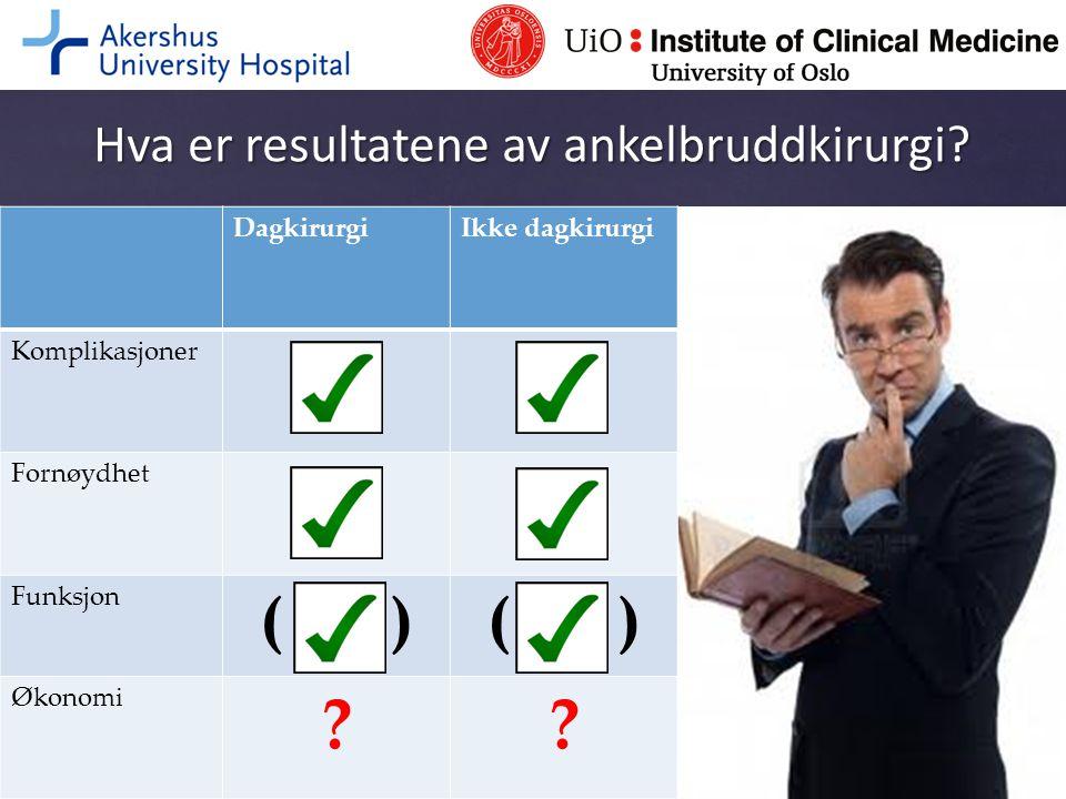 Hva er resultatene av ankelbruddkirurgi? DagkirurgiIkke dagkirurgi Komplikasjoner Fornøydhet Funksjon ( ) Økonomi ??