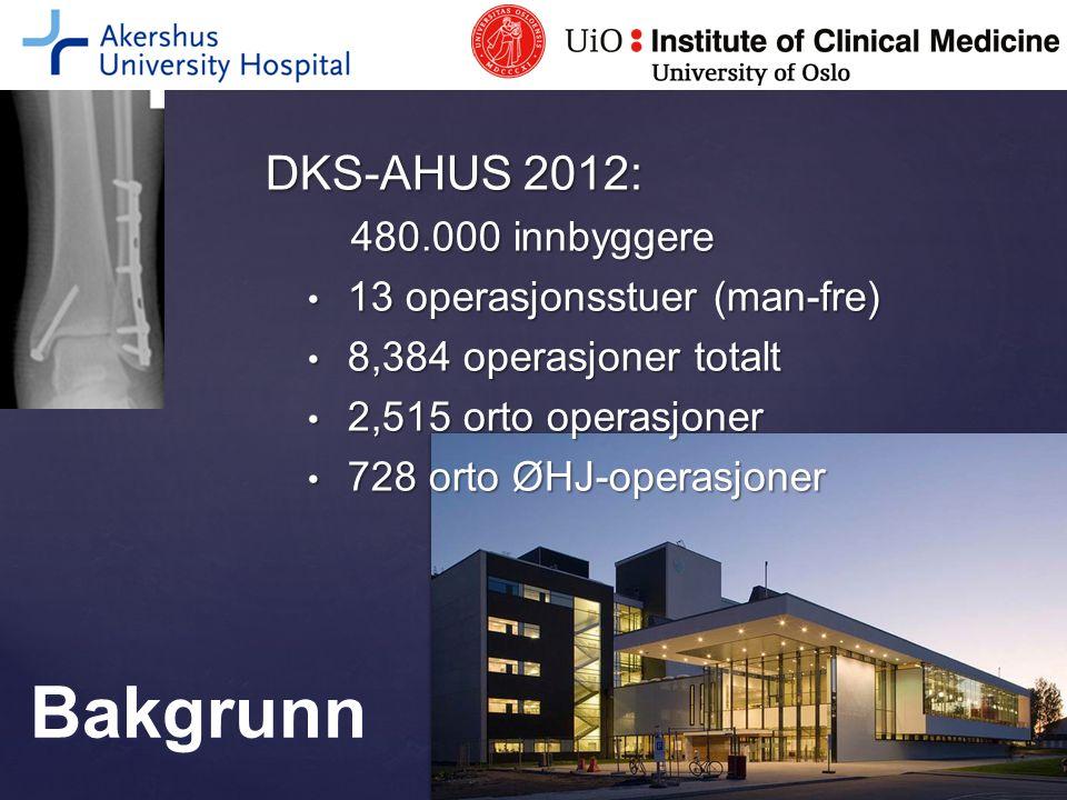 2012: 4-16 mnd oppfølging AlvorligFrekvens i % Dyp infeksjon med reoperasjon3 Lungepropp1 Blodpropp i ben1 TOTALT5