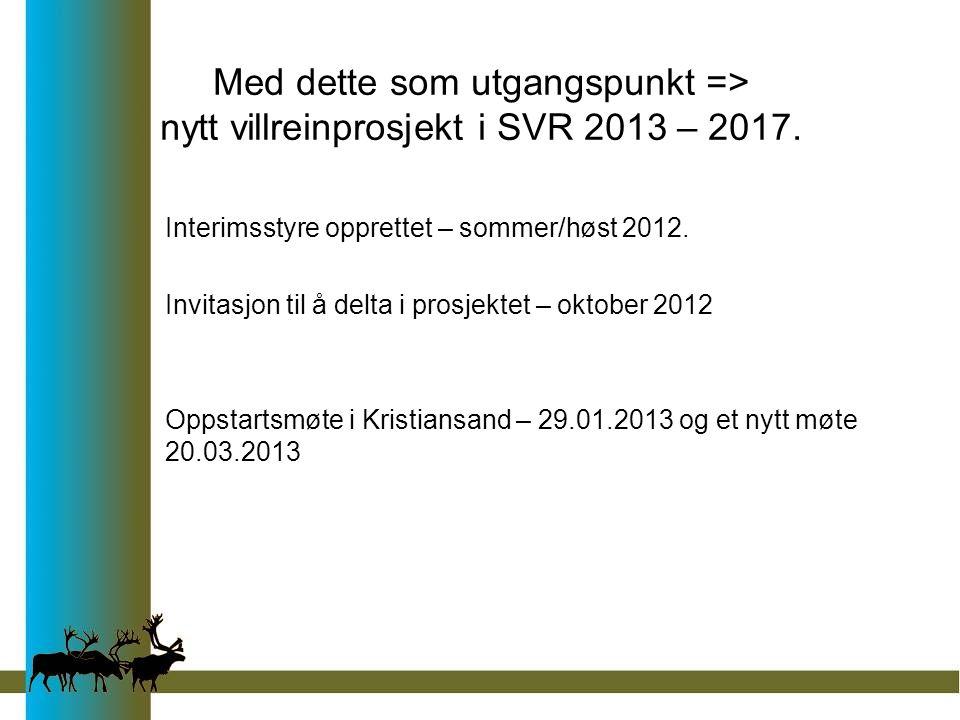 Med dette som utgangspunkt => nytt villreinprosjekt i SVR 2013 – 2017. Interimsstyre opprettet – sommer/høst 2012. Invitasjon til å delta i prosjektet