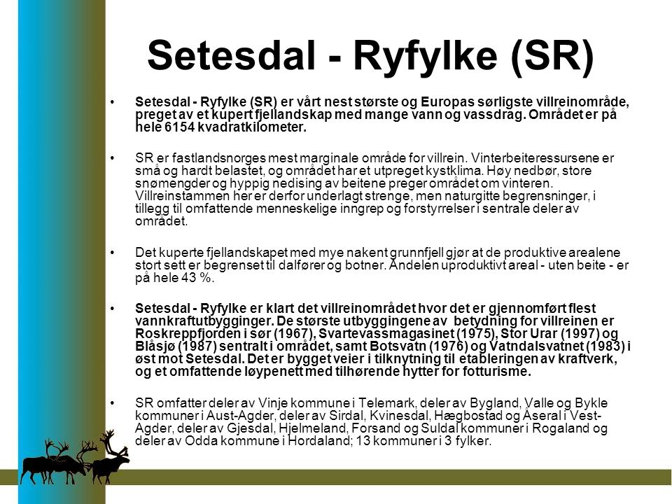Setesdal - Ryfylke (SR) Setesdal - Ryfylke (SR) er vårt nest største og Europas sørligste villreinområde, preget av et kupert fjellandskap med mange vann og vassdrag.