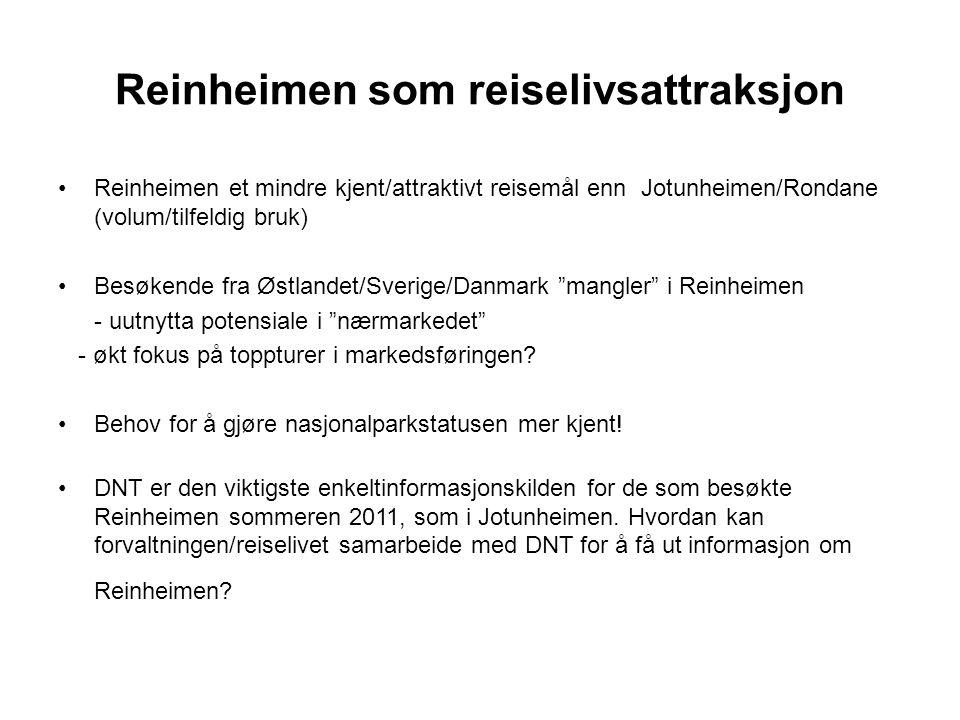 Reinheimen som reiselivsattraksjon Reinheimen et mindre kjent/attraktivt reisemål enn Jotunheimen/Rondane (volum/tilfeldig bruk) Besøkende fra Østlandet/Sverige/Danmark mangler i Reinheimen - uutnytta potensiale i nærmarkedet - økt fokus på toppturer i markedsføringen.