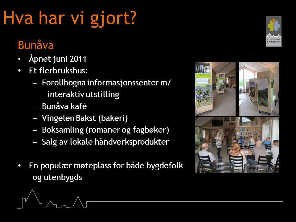 Hva har vi gjort? Bunåva Åpnet juni 2011 Et flerbrukshus: – Forollhogna informasjonssenter m/ interaktiv utstilling – Bunåva kafé – Vingelen Bakst (ba